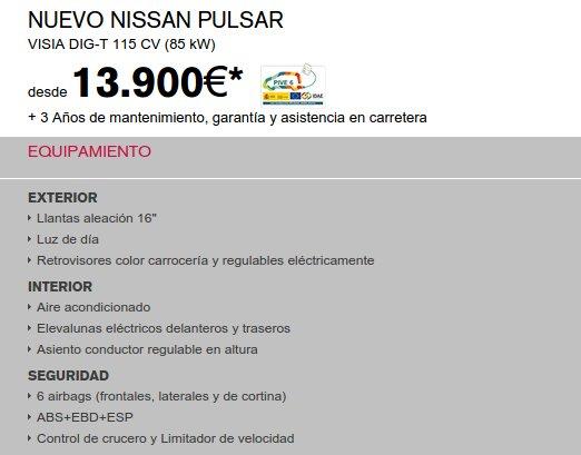 Nissan Pulsar precios