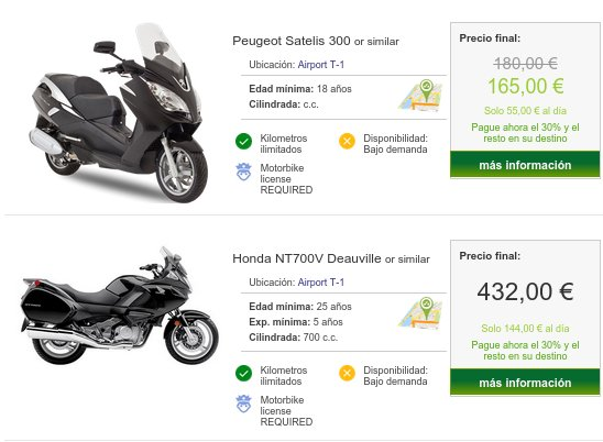 Alquiler de motos baratas Madrid