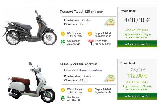 Alquiler de motos baratas Sevilla