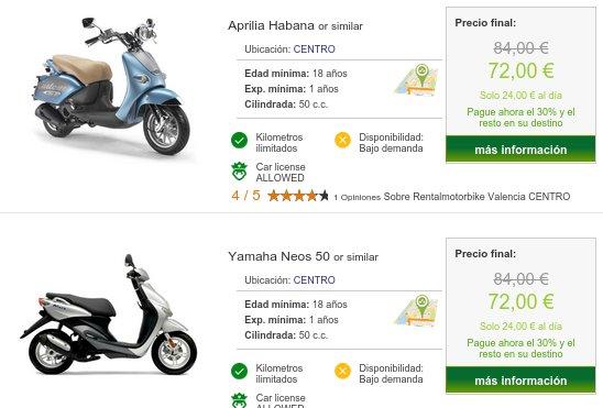 Alquiler de motos baratas Valencia