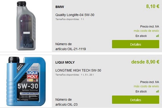 comprar aceite de coche por Internet