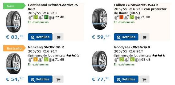 neumáticos de invierno coche